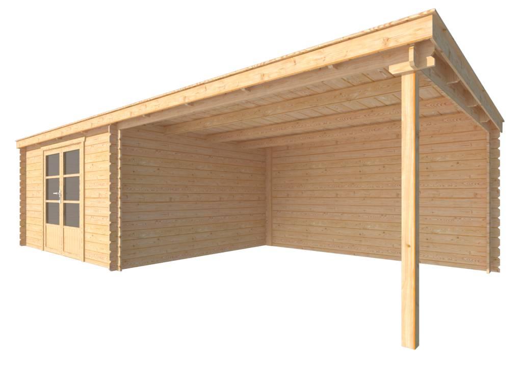DWF Blokhut met overkapping lessenaar dak 400 x 350 + 400cm