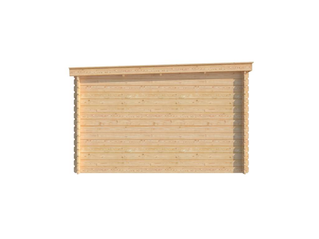 DWF Blokhut met overkapping lessenaar dak 400 x 350 + 300cm