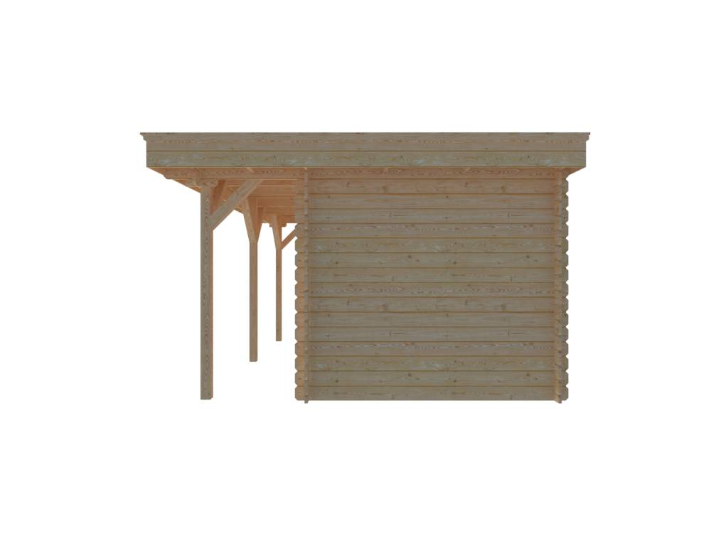 DWF Blokhut met overkapping plat dak 250 x 250 + 400 x 350cm