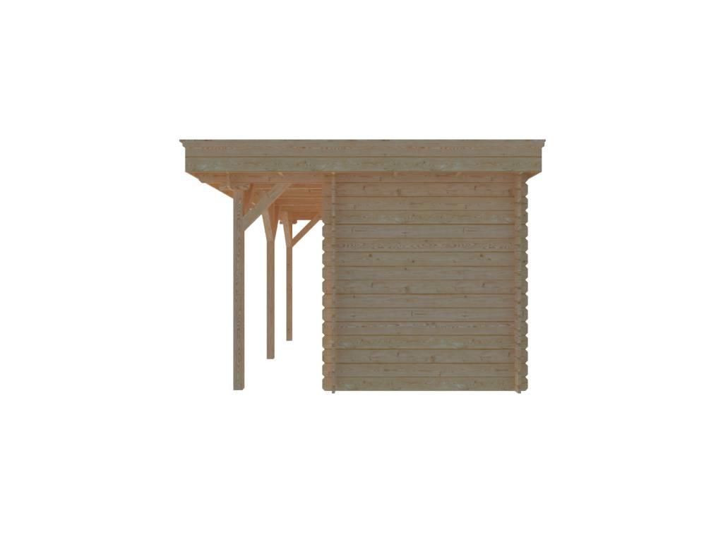 DWF Blokhut met overkapping plat dak 250 x 200 + 350 x 300cm