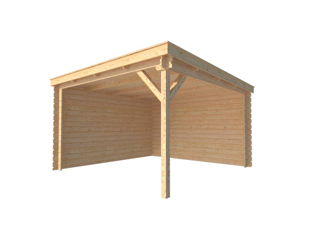 DWF Houten overkapping lessenaars dak 350 x 350cm