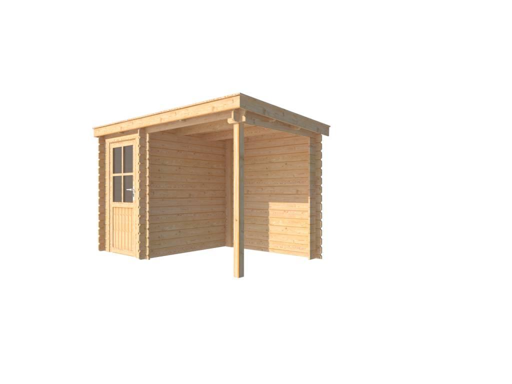 DWF Blokhut met overkapping lessenaar dak 150 x 200 + 200cm