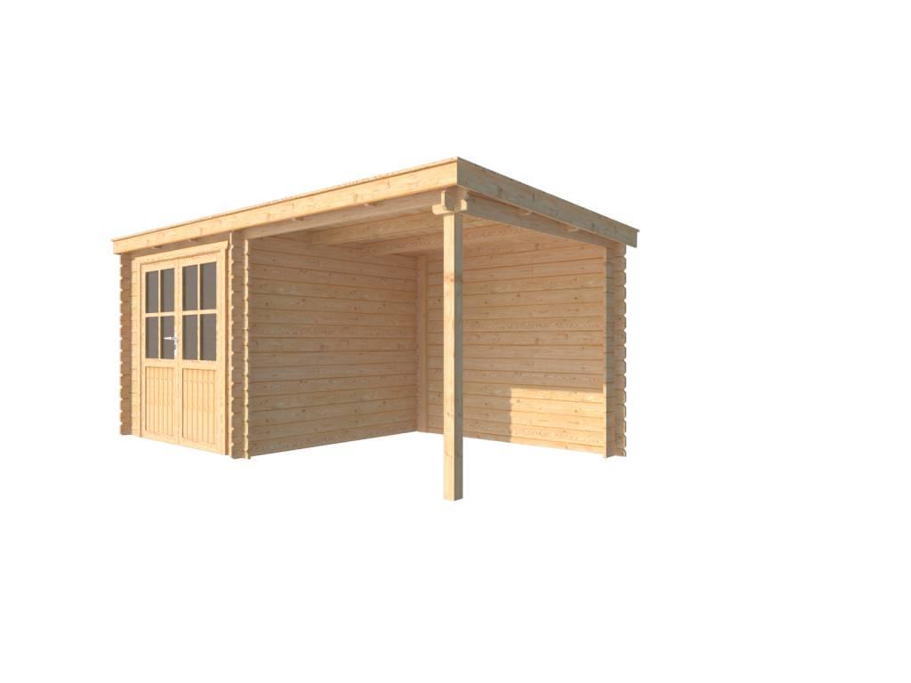 DWF Blokhut met overkapping lessenaar dak 250 x 250 + 250cm