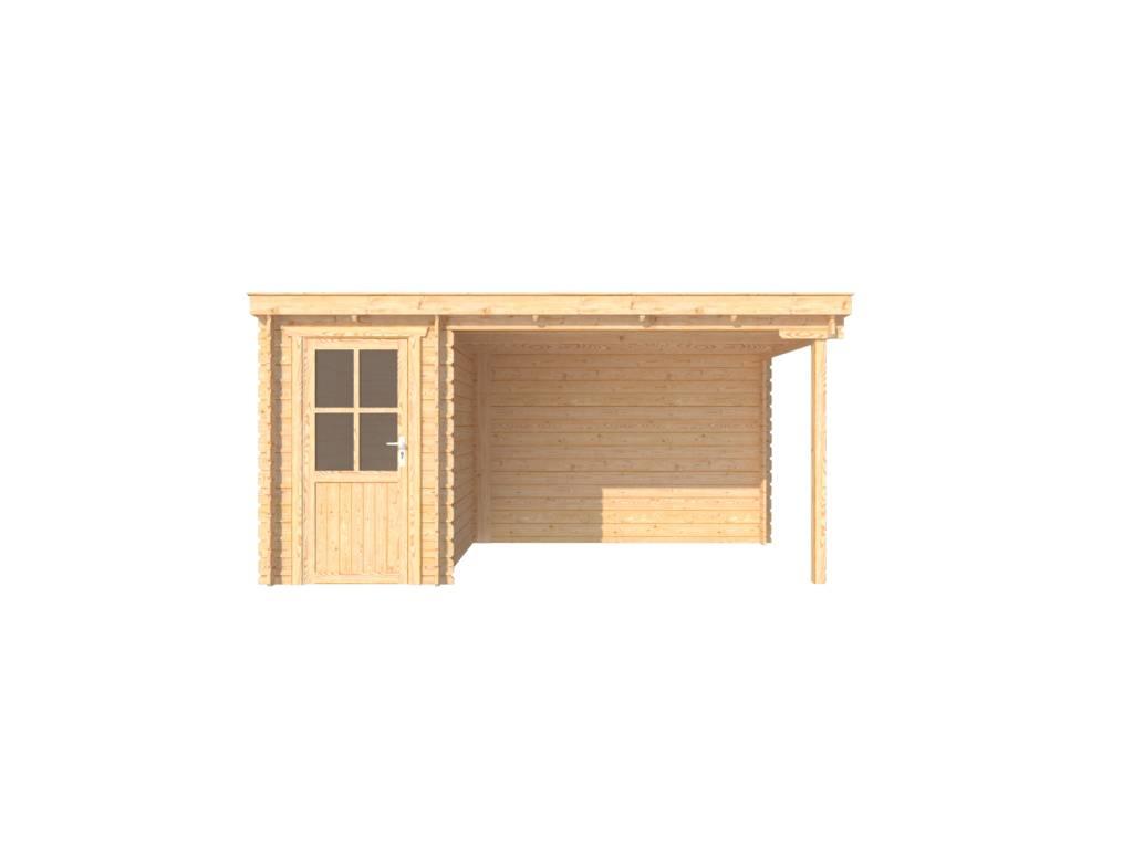 DWF Blokhut met overkapping lessenaar dak 150 x 250 + 300cm