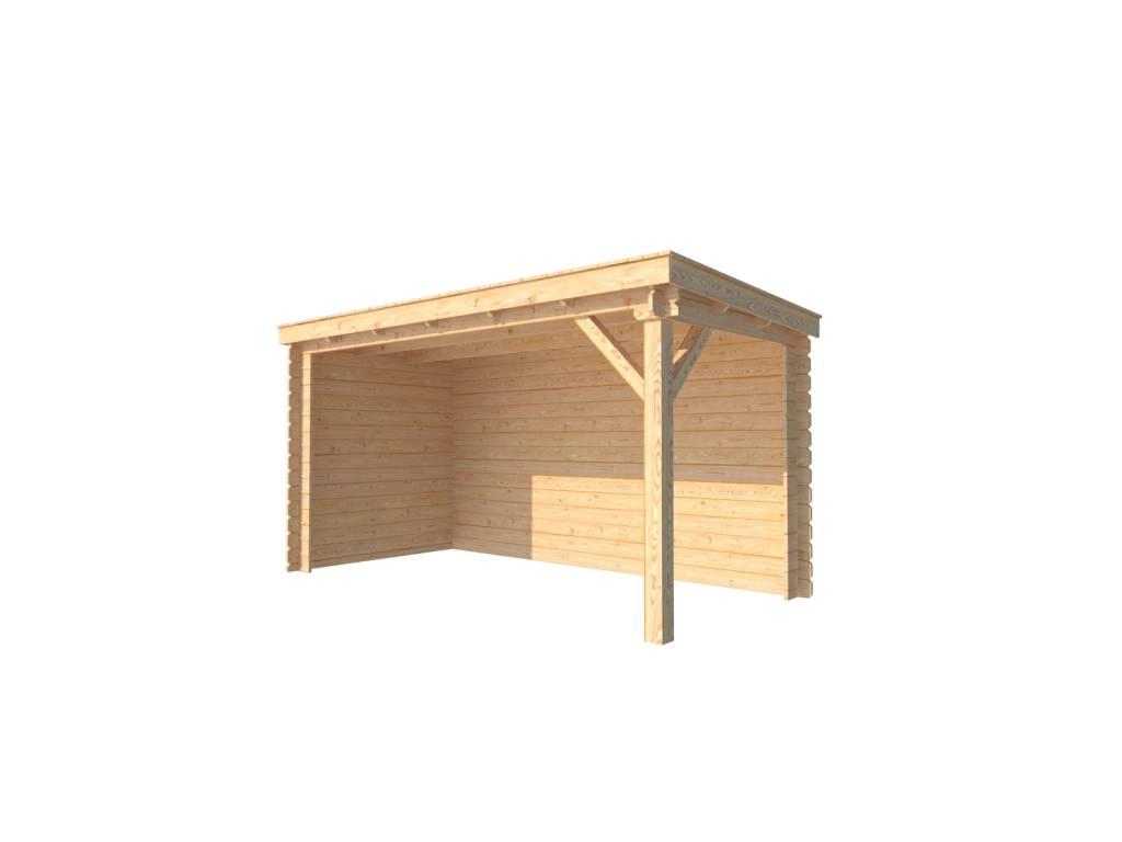 DWF Houten overkapping lessenaars dak 400 x 200cm