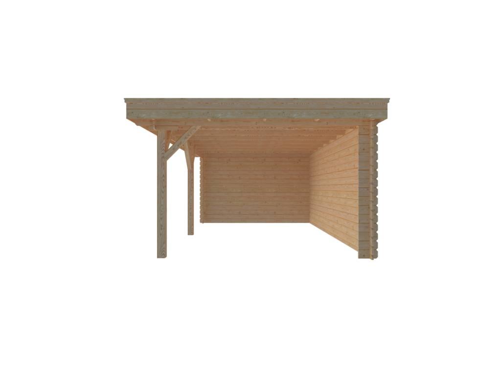 DWF Houten overkapping plat dak 550 x 350cm