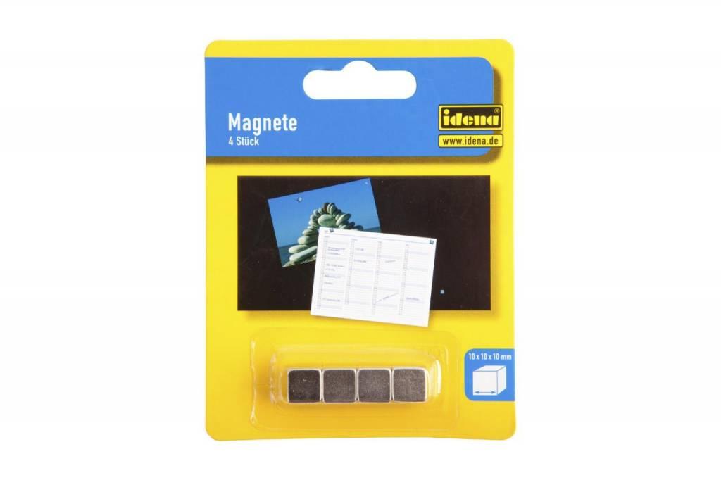Iden 4 Stk. Magnetwürfel in silber - 10x10x10 mm - extra stark