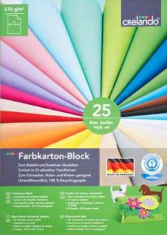 Crelando Crelando Farbkarton-Block - 25 Blatt