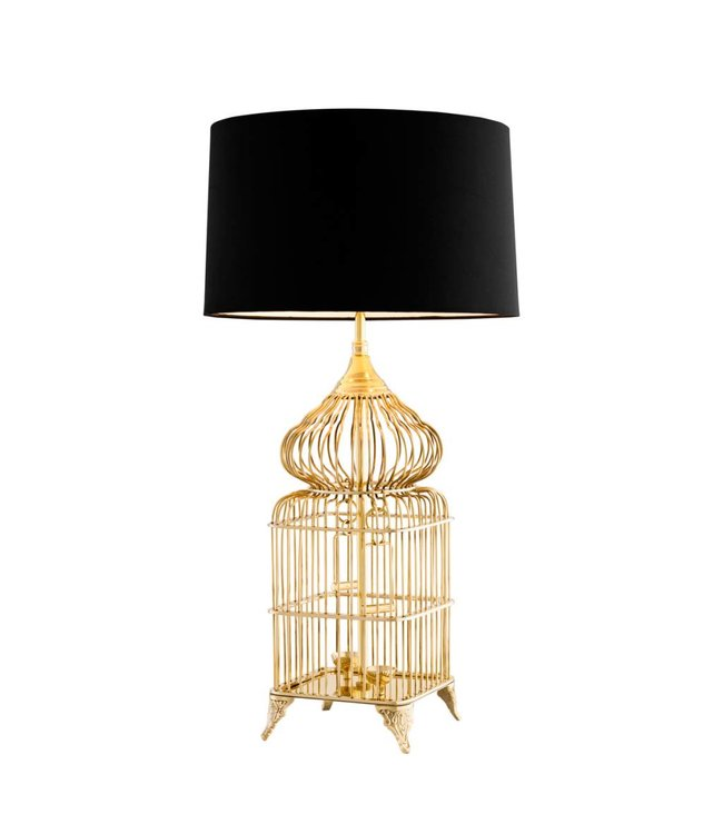 Polished Brass Birdcage Lamp