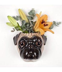Quail Fawn Pug wall vase