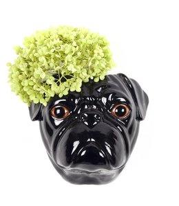 Quail Black Pug wall vase