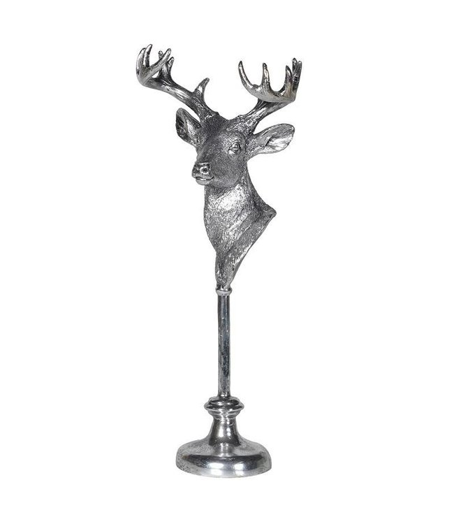 Silver Deer Head on stand
