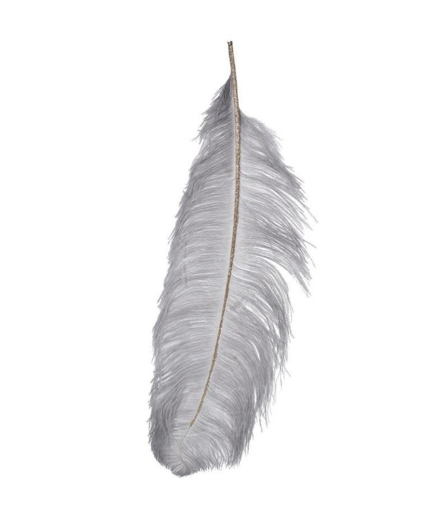 Grey/Gold Ostrich Feather