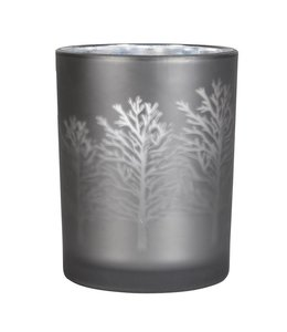 Grey Frosted Tree Tea Light Holder Medium
