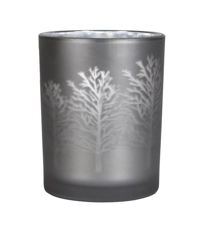 Grey Frosted Tree Tea Light Holder Medium