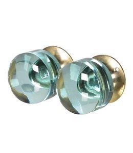 Set of 2 Green Glass Door Knob