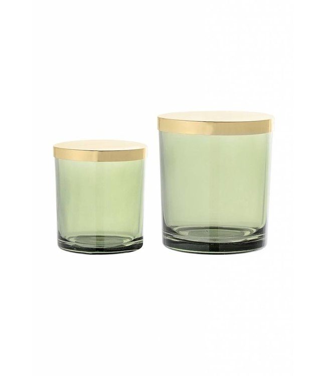 Bloomingville Glass Green with Gold lid set of 2