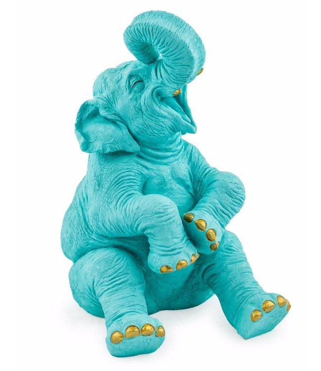 M&R Laughing Elephant Blue with Gold Detail