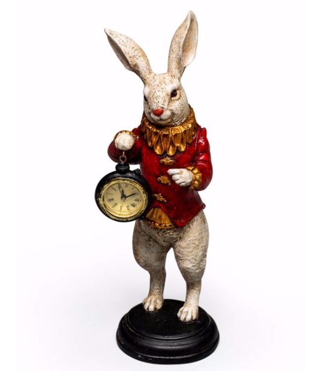 McGowan & Rutherford White Rabbit Standing Clock Figure Red