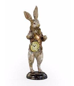 M&R White rabbit clock figure- GOLD