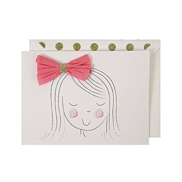 MERIMERI Girl With Bow Greeting Card