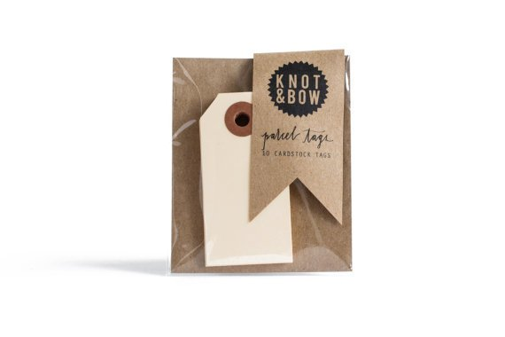 KNOT & BOW Parcel Tags: 10 Manilla