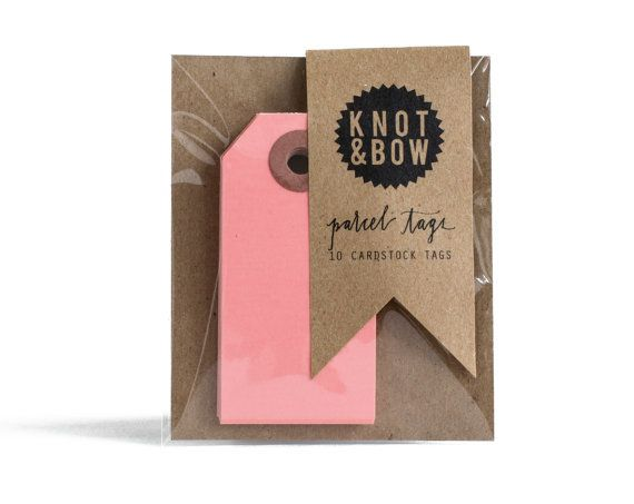 KNOT & BOW Parcel Tags: 10 Pink