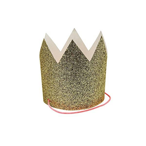 MERIMERI Mini gold glitter crowns