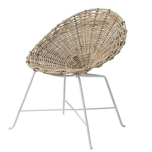 BLOOMINGVILLE Kubu Rattan Kids Chair, Braided Nature w/White Legs Seat D35xSeat H38xW60xH69cm