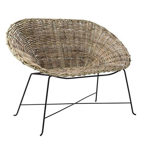 BLOOMINGVILLE Kubu Rattan Sofa, Braided Nature w/Black Legs Seat D43xSeat H45xW120xH89 cm