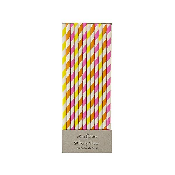 MERIMERI Neon striped straws