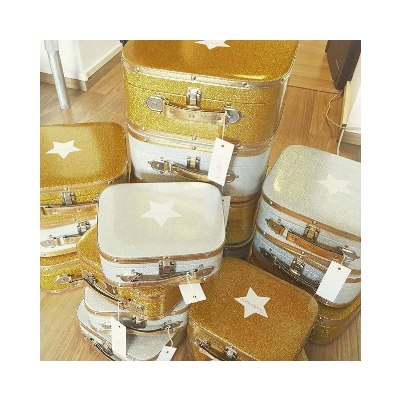 gold glitter toilet seat.  RATATAM suitcase gold glitter M YAY