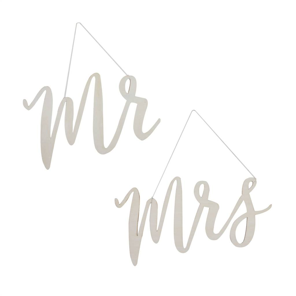 GINGERRAY Wooden Signs - Mr and Mrs Chair Signs