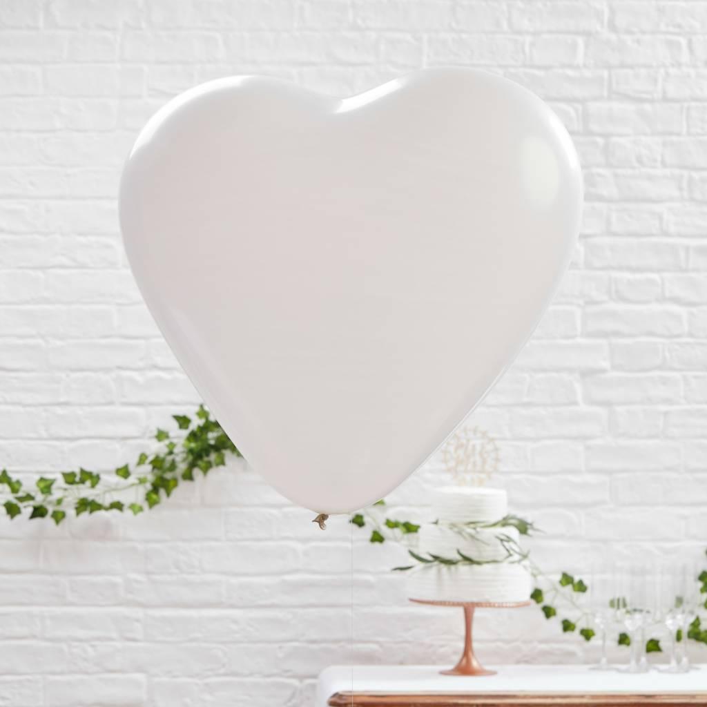 GINGERRAY Balloons - Huge Heart - White