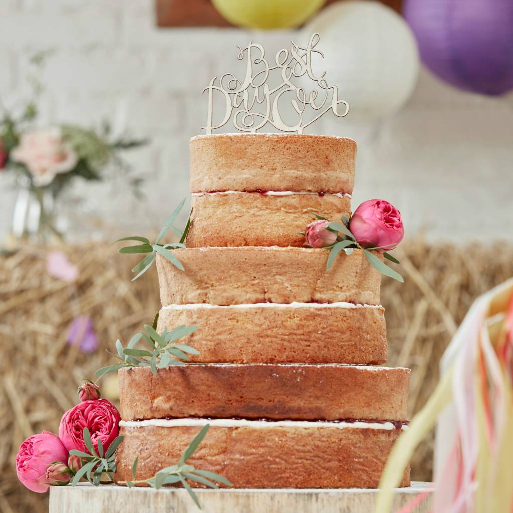 GINGERRAY Wooden Cake Toppers - Best Day Ever