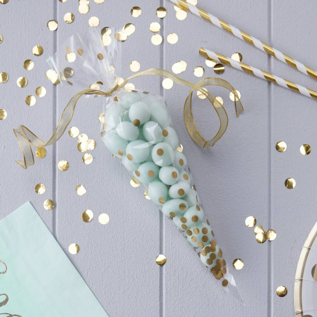 GINGERRAY Party Bag - Cone - Gold Spotty