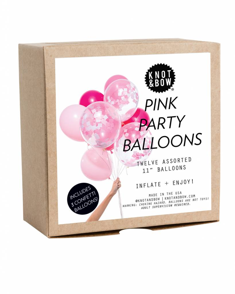 KNOT & BOW pink party balloons
