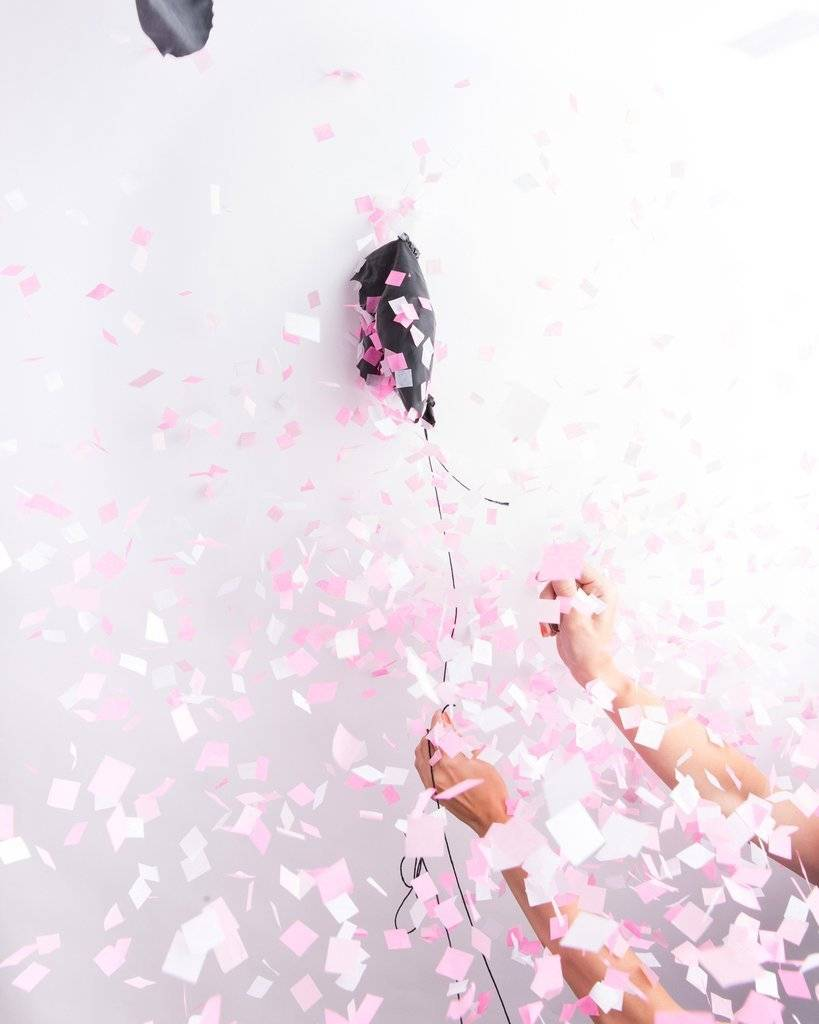 KNOT & BOW pink gender reveal confetti balloons