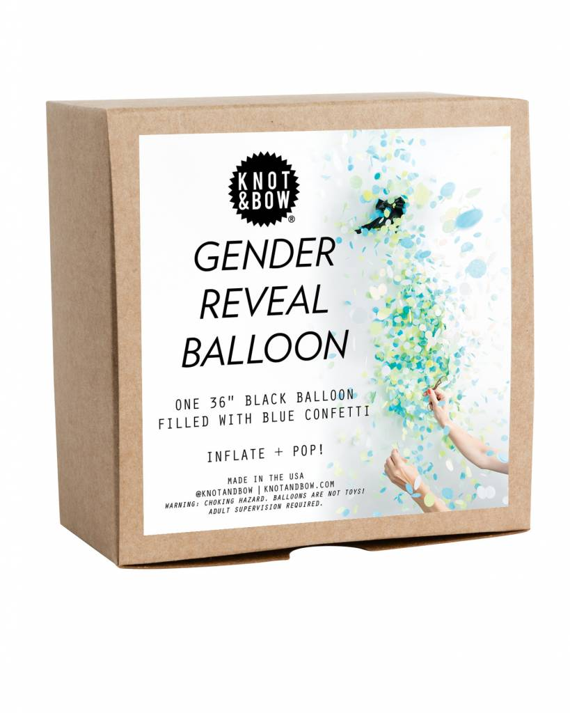 KNOT & BOW blue gender reveal confetti balloon
