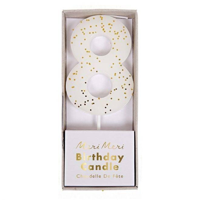 MERIMERI White number 8 candle