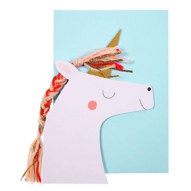 MERIMERI Unicorn with colored braid card