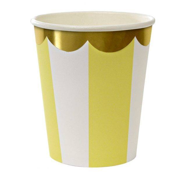 MERIMERI Toot sweet yellow stripe cups