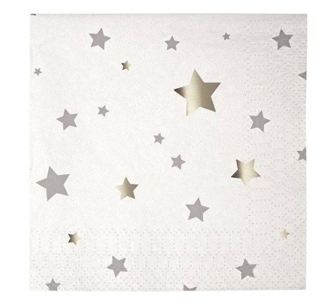 MERIMERI Toot Sweet silver star small napkins