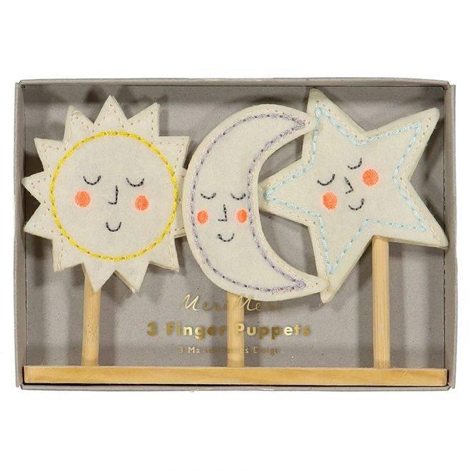 MERIMERI Sun, moon, star finger puppets