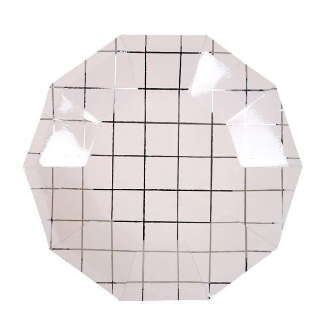 MERIMERI Silver grid small plates