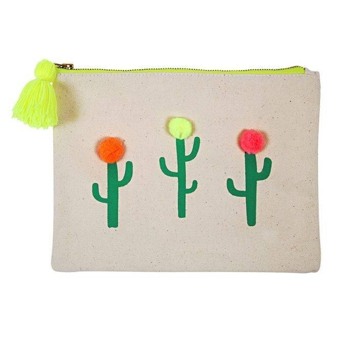 MERIMERI Pom pom cactus large canvas pouch