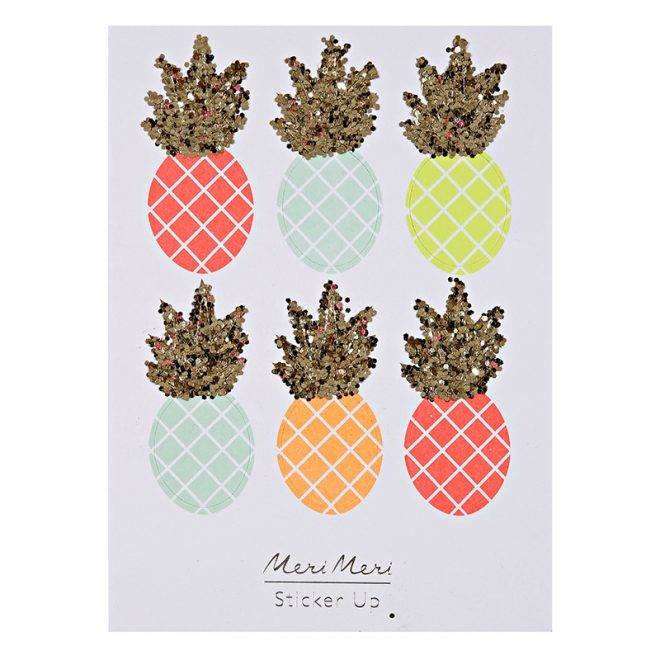 MERIMERI Neon pineapple glitter stickers