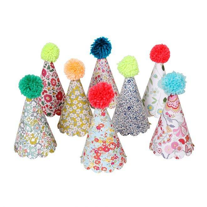MERIMERI Liberty assorted pom pom party hats