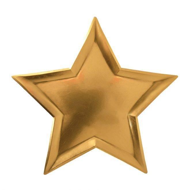 MERIMERI Gold star foil plates