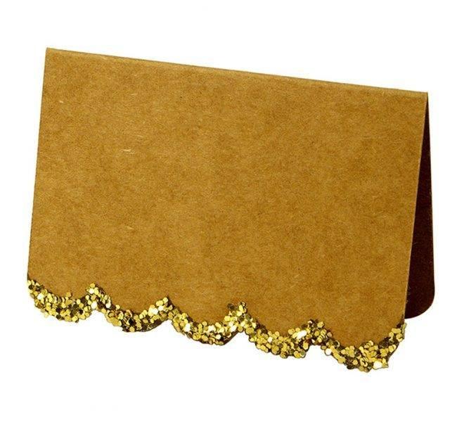 MERIMERI Glittered scallop edge place cards